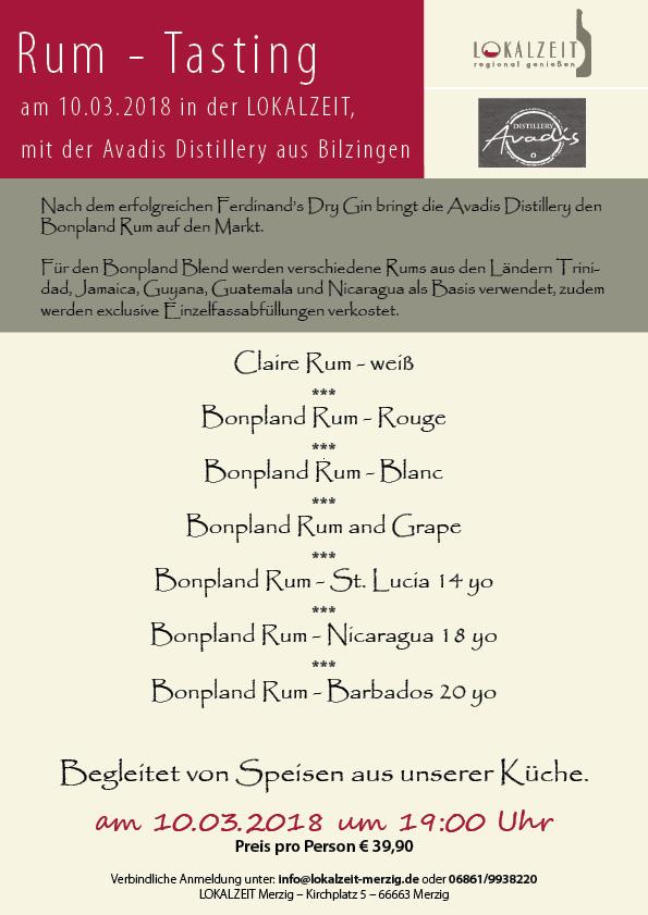 Rum Tasting mit der Avadis Destillerie